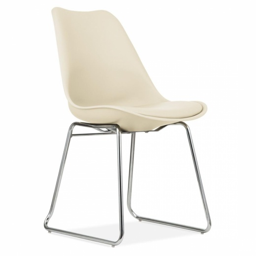 Eames Inspired Dining Chairs with Soft Pad Seat Cream