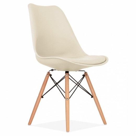 Eames Inspired Cream Dining Chair with DSW Style Natural Wood Legs