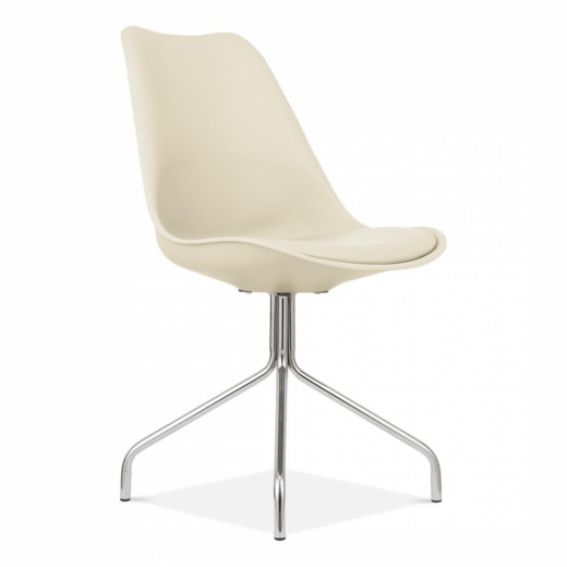 Eames Inspired Cream Dining Chairs With Metal Cross Legs