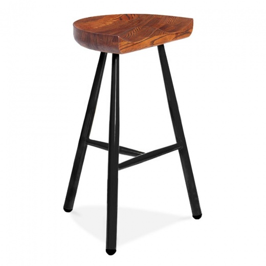Cult Living Dalston Bar Stool with Wood Seat - Black 77cm