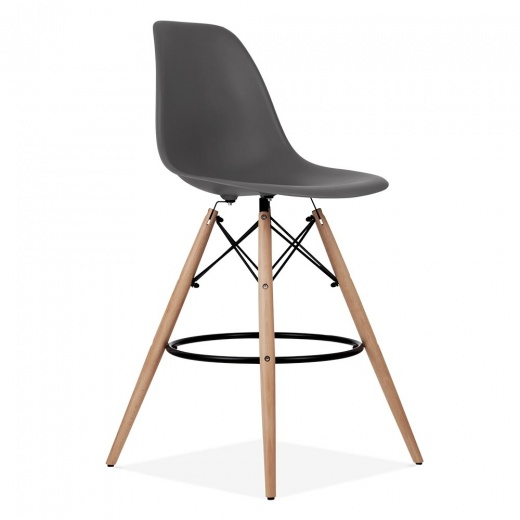 Iconic Designs Eames Style DSW Stool with Backrest, Dark Grey 71cm