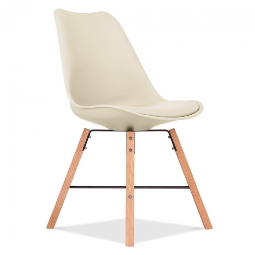 Eames Inspired Soft Pad Dining Chair With Cross Brace Legs - Cream