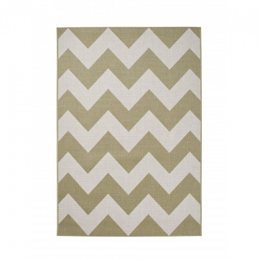 Cult Living Cottage Zig Zag Synthetic Floor Rug, Olive