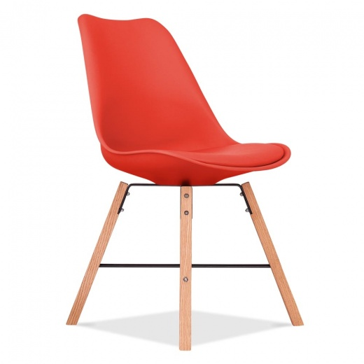 Eames Inspired Soft Pad Dining Chair With Cross Brace Legs - Red