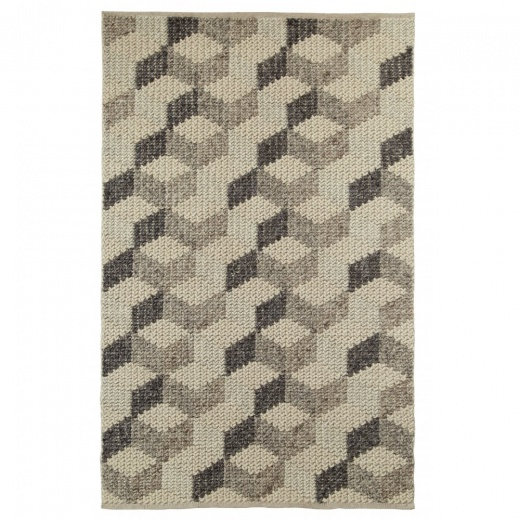 Cult Living Geometric 3D Pattern Alpha Rug, 100% Wool, Natural