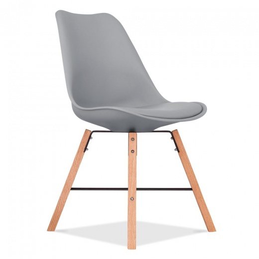 Eames Inspired Soft Pad Dining Chair With Cross Brace Legs - Cool Grey - Clearance Sale