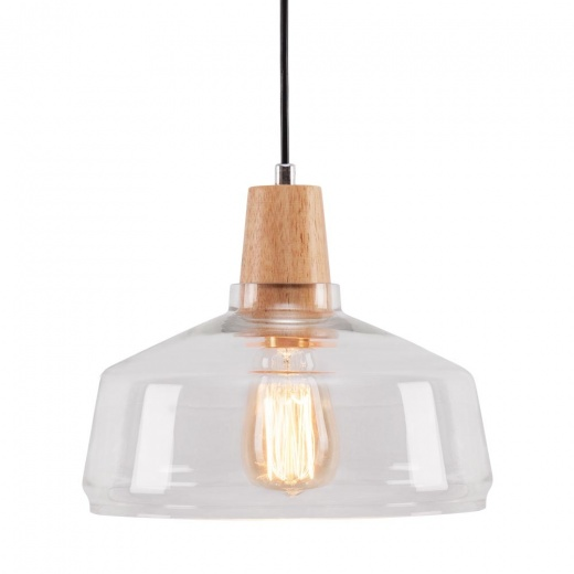 Cult Living Aalborg Glass Dome Pendant Light - Wood / Clear
