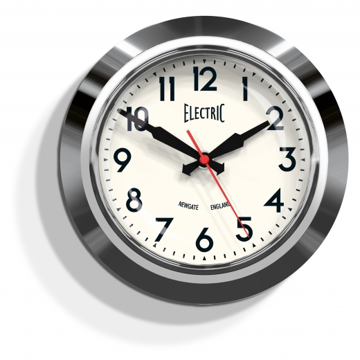 "Newgate The Small ""Electric"" Wall Clock - Chrome"
