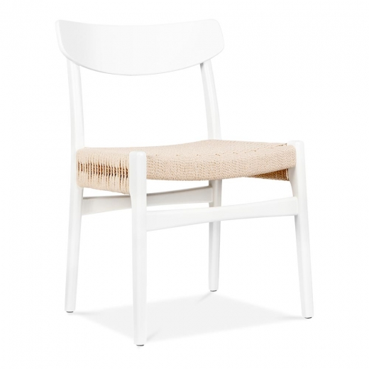 Danish Designs CH23 Wooden Dining Chair - White / Natural Seat