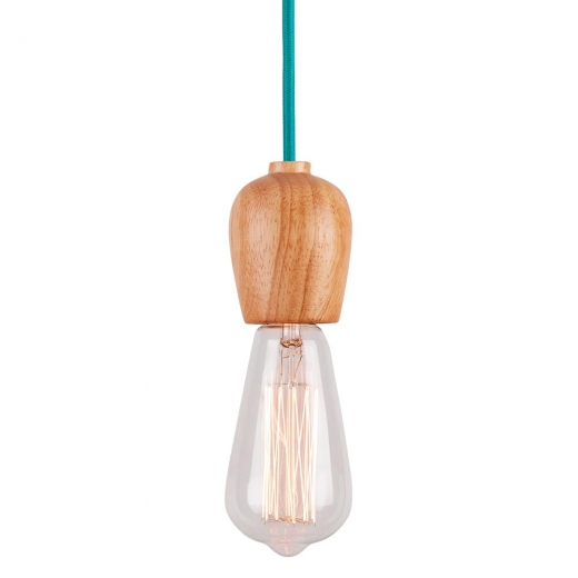 Cult Living Natural Wood Pendant Bulb Holder - Turquoise Cord