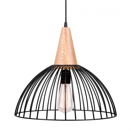 Cult Living Malmö Dome Cage Light With Wooden Bulb Holder - Black