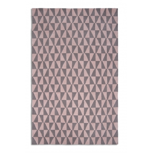 Plantation Geometric Floor Rug, 100% Wool, Pink & Grey