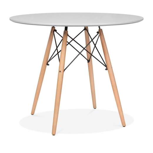 Eames Inspired Light Grey DSW Dining Round Table - Diameter 90cm