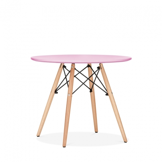 Eames Inspired DSW Pastel Pink Kids Round Dining Table - Diameter 60cm