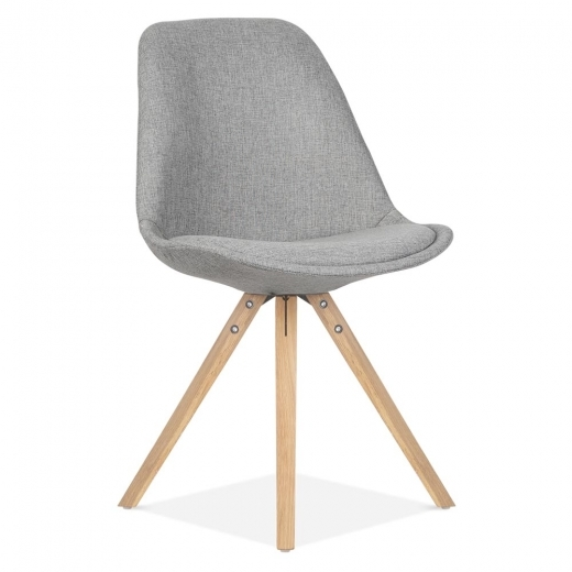 Eames Inspired Upholstered Dining Chair With Pyramid Style Solid Oak Wood Legs - Cool Grey