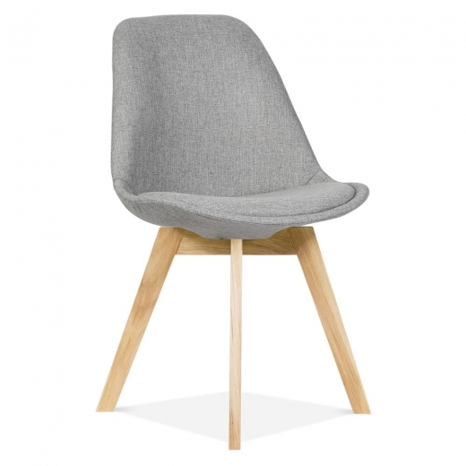 Eames Inspired Upholstered Solid Oak Dining Chair in Cool Grey