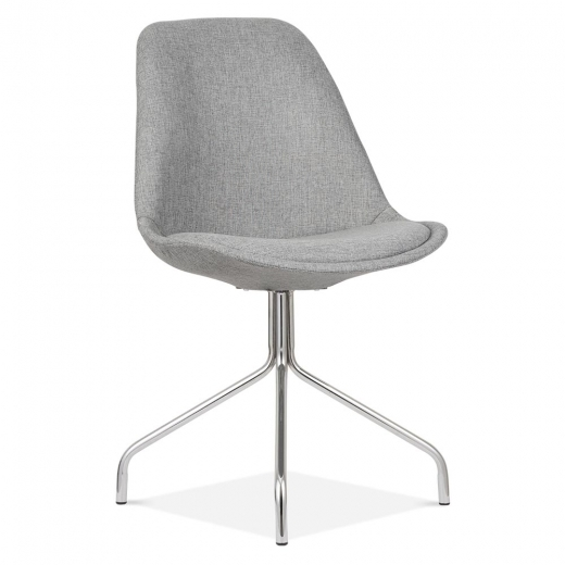 Eames Inspired Upholstered Dining Chair With Metal Cross Legs - Cool Grey