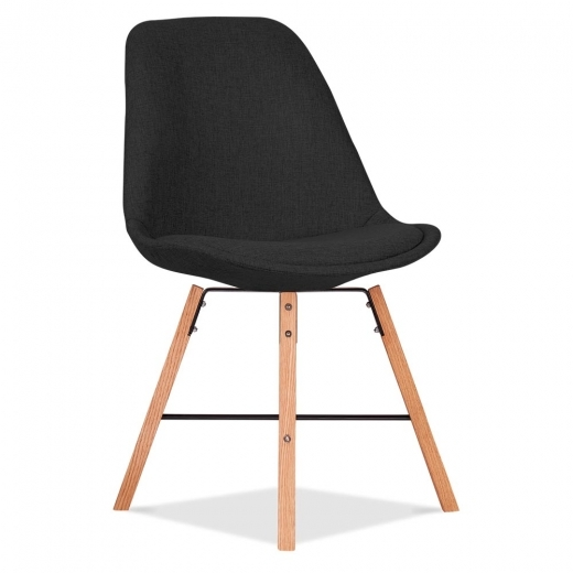 Eames Inspired Soft Pad Upholstered Dining Chair With Cross Brace Legs - Black