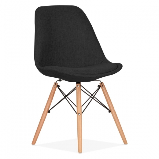 Eames Inspired Black Upholstered Dining Chair with DSW Style Natural Wood Legs