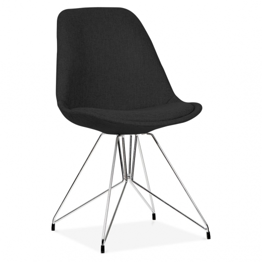 Eames Inspired Black Upholstered Dining Chair with Geometric Metal Legs