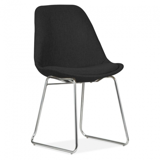 Eames Inspired Black Upholstered Dining Chairs with Soft Pad Seat