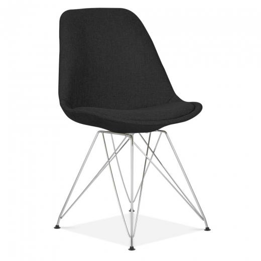Eames Inspired Black Upholstered Dining Chair with Eiffel Metal Legs