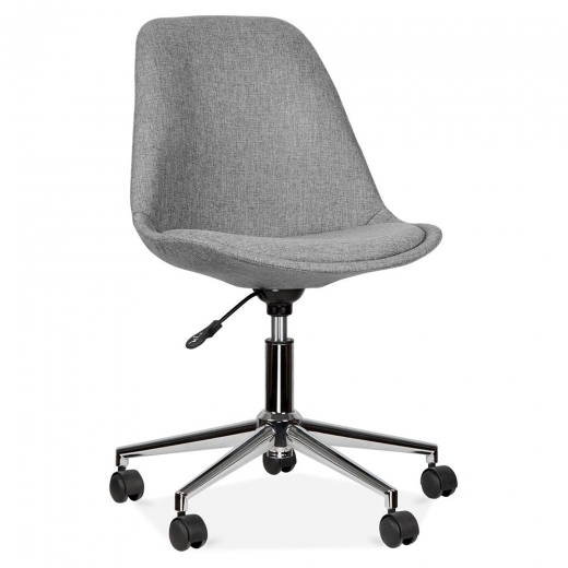 Eames Inspired Upholstered Office Chair With Soft Pad Seat - Cool Grey