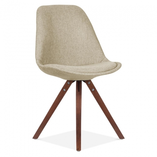 Eames Inspired Beige Upholstered Dining Chair With Pyramid Style Solid Oak Wood Legs