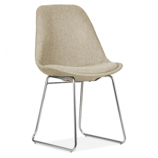 Eames Inspired Beige Upholstered Dining Chairs with Soft Pad Seat