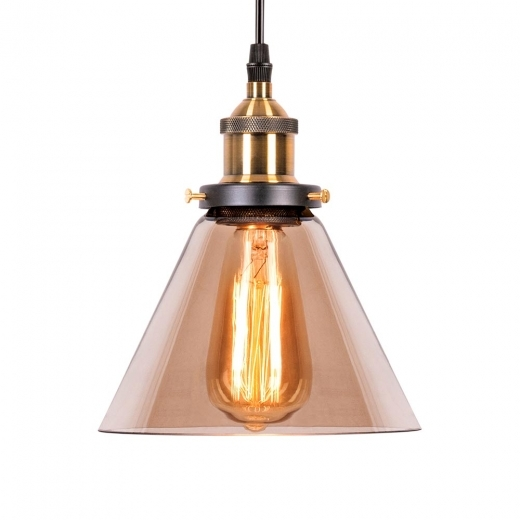 Edison Factory Glass Cone Pendant Light - Antique Gold / Coffee