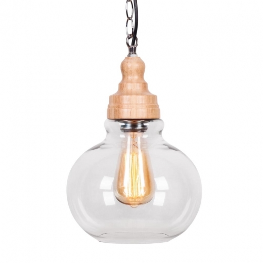 Edison Factory Glass Sphere Pendant Light - Wood / Clear - Clearance Sale