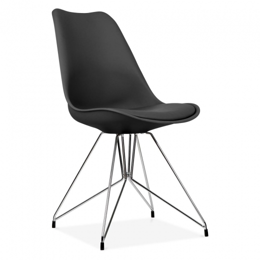 Eames Inspired Black Dining Chair with Geometric Metal Legs
