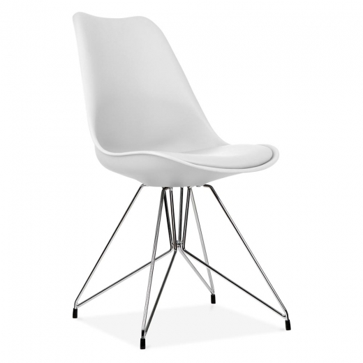Eames Inspired White Dining Chair with Geometric Metal Legs