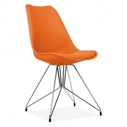 Eames Inspired Orange Dining Chair with Geometric Metal Legs