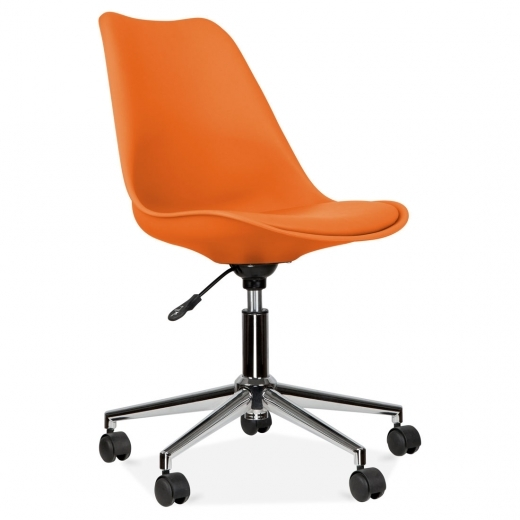 Eames Inspired Orange Office Chair With Soft Pad Seat
