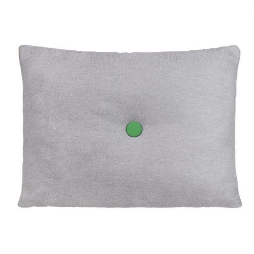 Cult Living Poet Cushion With Single Button - Grey with Green Button