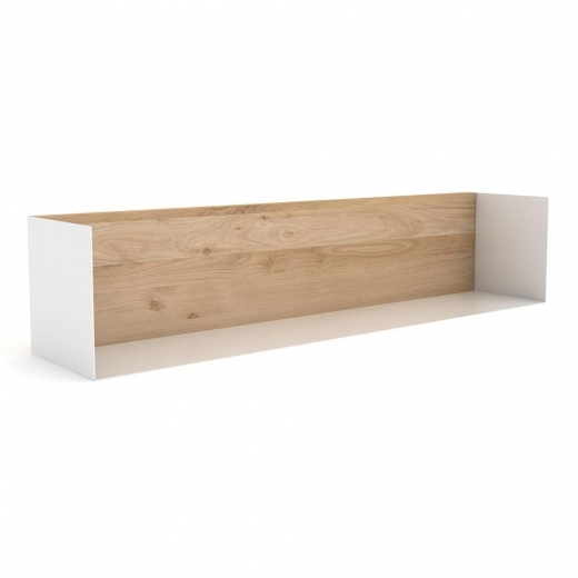 Universo Positivo U Shelf, Solid Oak and Metal Frame, White Large