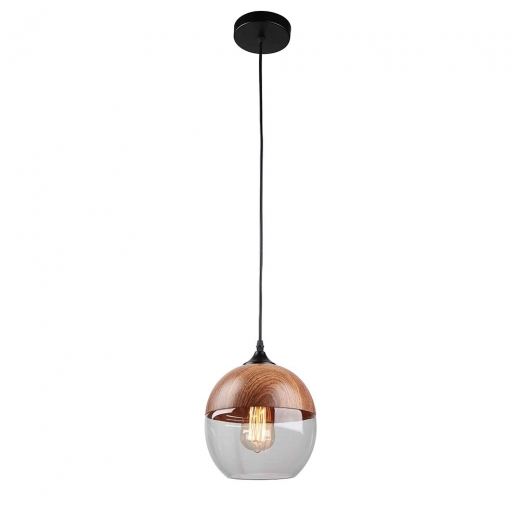 Cult Living Primo Sphere Pendant Light - Wood Effect / Clear - Clearance Sale