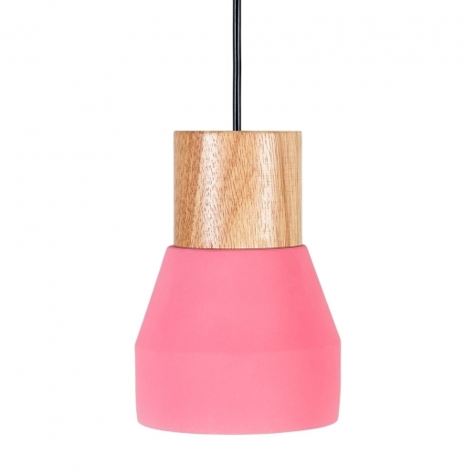 Cult Living Laval Ceramic and Wood Pendant Light, Pink