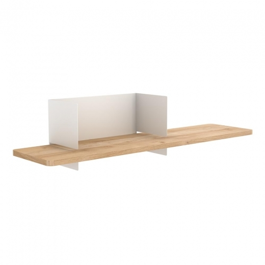 Universo Positivo Clip Wall Shelf, Solid Oak Wood and Metal Frame, White