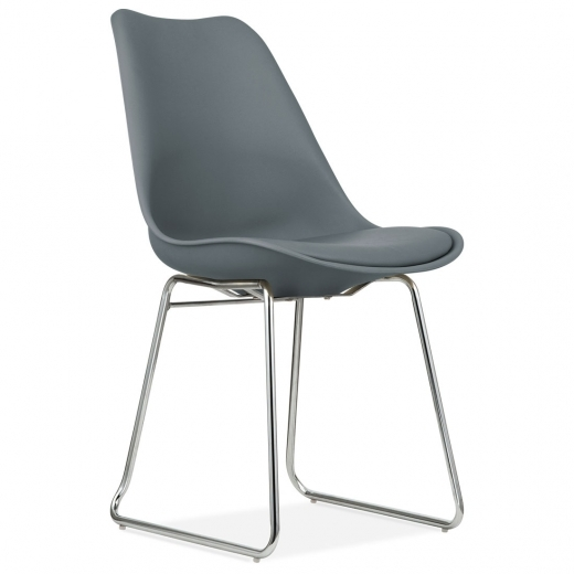 Eames Inspired Dining Chairs with Soft Pad Seat - Grey