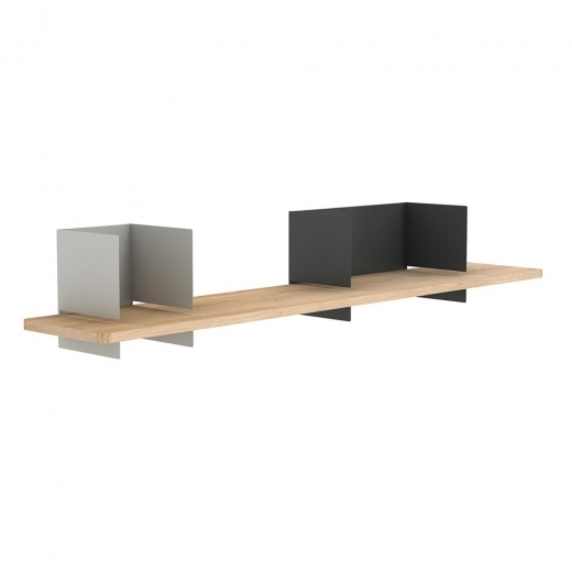 Universo Positivo Clip Wall Shelf Large Double - Smokey Grey and Dark Grey