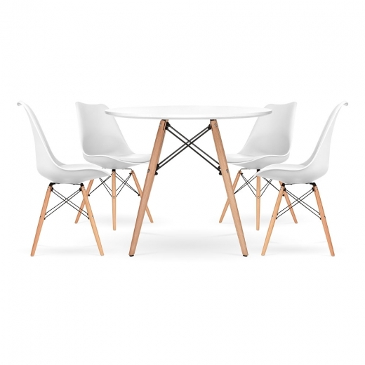 Eames Inspired Soft Pad Dining Set - 1 Round Table & 4 Chairs - White 90cm