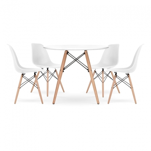 Eames Inspired DSW Dining Set - 1 Table & 4 Chairs - White 90cm