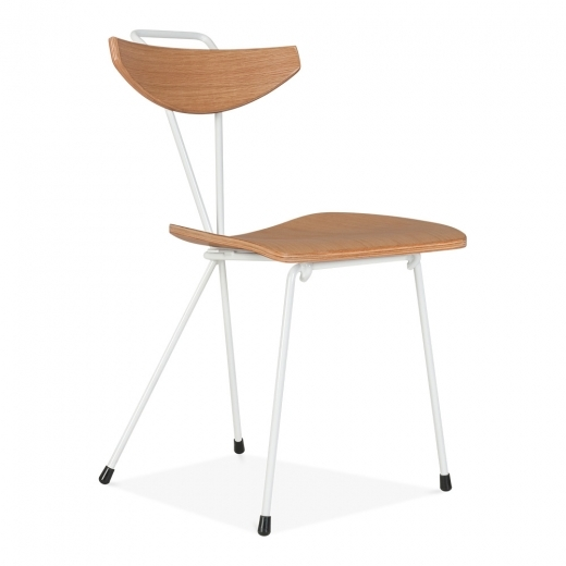 Cult Living Sapphire Chair With Natural Plywood Seat - White