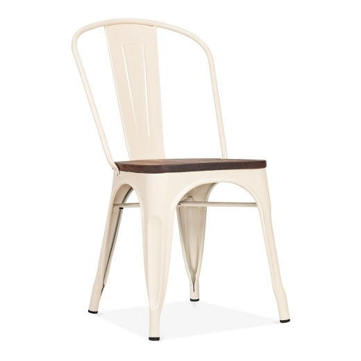 Xavier Pauchard Tolix Style Metal Side Chair with Wood Seat Option - Cream