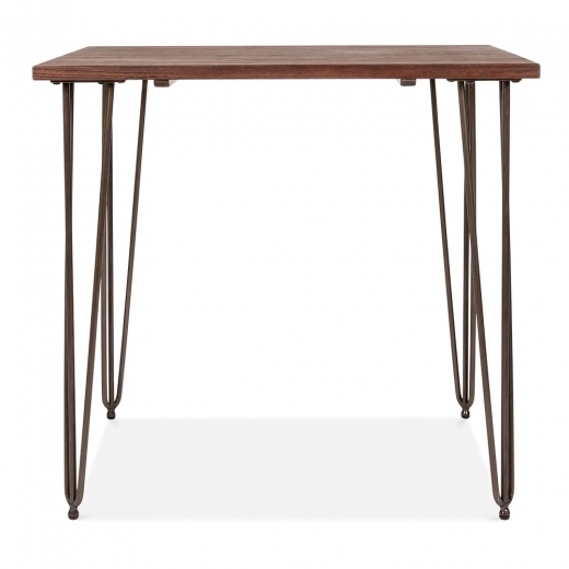 Cult Living Hairpin Square Dining Table with Solid Wood Top - Raw 80cm