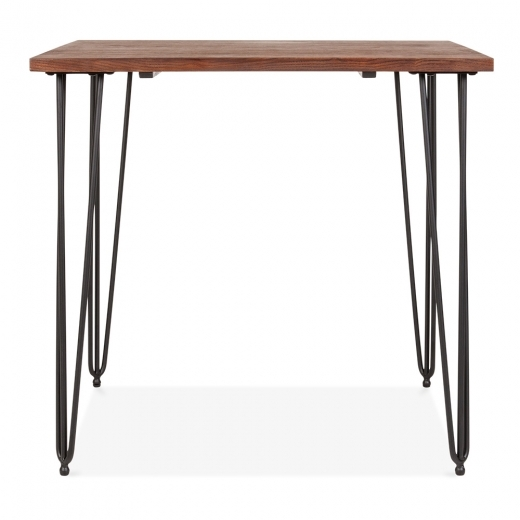 Cult Living Hairpin Square Dining Table with Solid Wood Top - Black 80cm