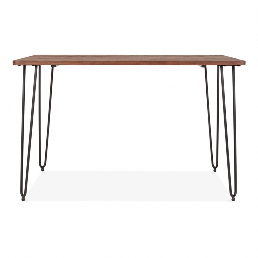 Cult Living Hairpin Rectangular Dining Table With Solid Wood Top - Black 120cm