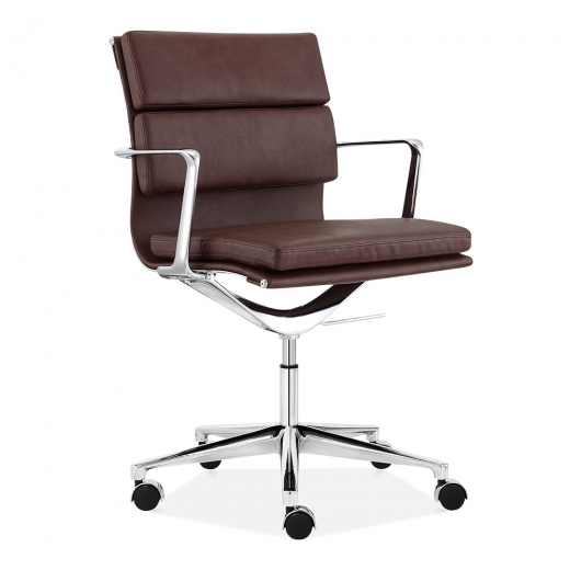 Cult Living Soft Pad Office Chair with Short Back – Brown